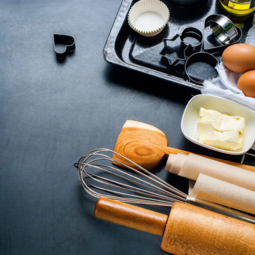 Basic ingredients and tools for baking